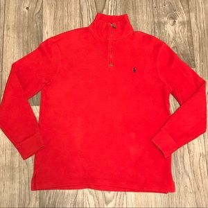 Men's Polo Quarter Zip Sweater Red